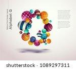 alphabet ball font design... | Shutterstock .eps vector #1089297311