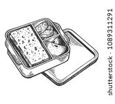 lunchbox with food engraving... | Shutterstock . vector #1089311291