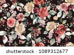 seamless pattern with flowers... | Shutterstock . vector #1089312677