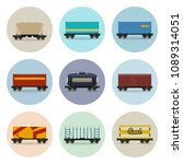 set of freight railway icons ... | Shutterstock .eps vector #1089314051