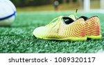 soccer ball and football boots... | Shutterstock . vector #1089320117