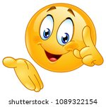 happy emoticon pointing finger... | Shutterstock .eps vector #1089322154