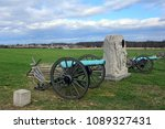 cannons and monument to the 15th new york independent battery on united states avenue near cemetery ridge  in the historical gettysburg battlefield,  pennsylvania
