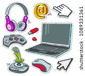set computer technology  laptop ... | Shutterstock .eps vector #1089331361