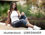 happy girl in the park  cute... | Shutterstock . vector #1089346409