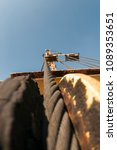 close up crane cable drum | Shutterstock . vector #1089353651