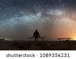 Small photo of landscape with milky way and human