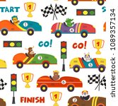 seamless pattern with race cars ... | Shutterstock .eps vector #1089357134