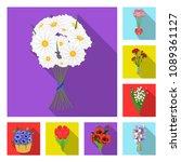 a bouquet of fresh flowers flat ... | Shutterstock .eps vector #1089361127