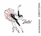 ballerina in pink ballet tutu.... | Shutterstock .eps vector #1089372044