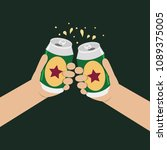 hand holding can vector  cheers ... | Shutterstock .eps vector #1089375005