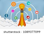 lamp launch to the sky. start... | Shutterstock .eps vector #1089377099