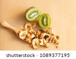 muesli granola  crunchy pile in ... | Shutterstock . vector #1089377195