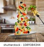 flying italian fusilli pasta... | Shutterstock . vector #1089384344