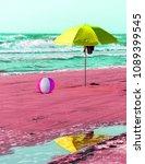 Fun Beach Concept With Parasol...