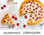 cherry pie with cream filling ... | Shutterstock . vector #1089416084
