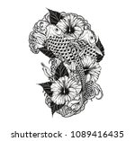 carp fish and flower tattoo by... | Shutterstock .eps vector #1089416435