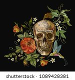 embroidery skull and roses ... | Shutterstock .eps vector #1089428381
