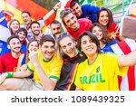 football supporter taking a... | Shutterstock . vector #1089439325
