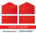red vector envelopes in... | Shutterstock .eps vector #1089440087