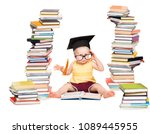 baby read book in graduation... | Shutterstock . vector #1089445955