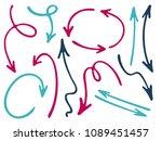 hand drawn diagram arrow icons... | Shutterstock .eps vector #1089451457