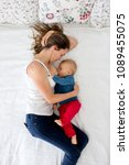 mother and toddler baby boy ... | Shutterstock . vector #1089455075