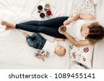 mother and toddler baby boy ... | Shutterstock . vector #1089455141