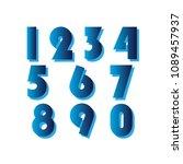numbers set vector | Shutterstock .eps vector #1089457937