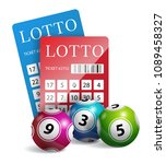 lottery tickets with balls.... | Shutterstock .eps vector #1089458327
