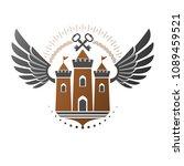 ancient citadel emblem.... | Shutterstock .eps vector #1089459521