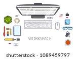 work desk workspace top view... | Shutterstock .eps vector #1089459797