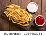 french fries with ketchup on... | Shutterstock . vector #1089463751