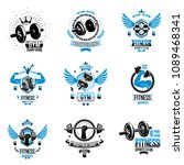vector weightlifting theme... | Shutterstock .eps vector #1089468341