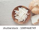 raw jicama  mexican turnip ... | Shutterstock . vector #1089468749