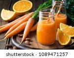 healthy detox orange carrot... | Shutterstock . vector #1089471257