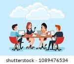 business team using laptops... | Shutterstock .eps vector #1089476534