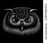 the vector logo owl for t shirt ... | Shutterstock .eps vector #1089486491