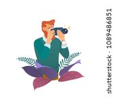 photographer taking photo with... | Shutterstock .eps vector #1089486851