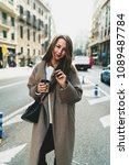 smiley hipster girl in a... | Shutterstock . vector #1089487784