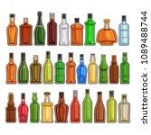 vector set of different bottles ... | Shutterstock .eps vector #1089488744