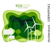eco city ecological concept.... | Shutterstock .eps vector #1089499361