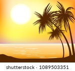 beautiful sunset over the sea...   Shutterstock .eps vector #1089503351