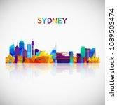 sydney skyline silhouette in...   Shutterstock .eps vector #1089503474