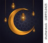 islamic background greeting... | Shutterstock .eps vector #1089513425