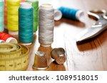 diy concept. sewing supplies ... | Shutterstock . vector #1089518015