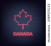 canada day. neon glowing sign... | Shutterstock .eps vector #1089525215