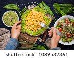 woman hands holds white beans... | Shutterstock . vector #1089532361