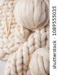 a ball of thick yarn and a... | Shutterstock . vector #1089555035