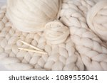 a ball of thick yarn and a... | Shutterstock . vector #1089555041